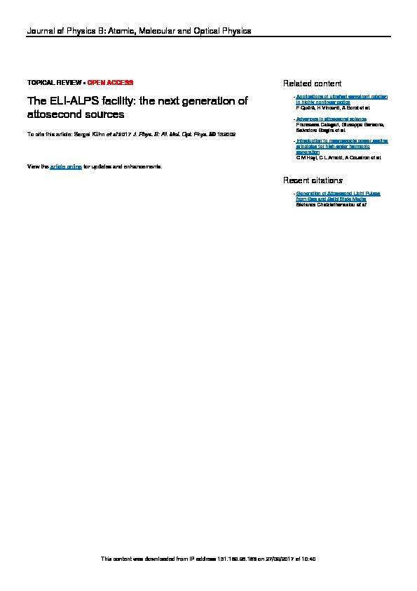 The ELI-ALPS facility: the next generation of attosecond